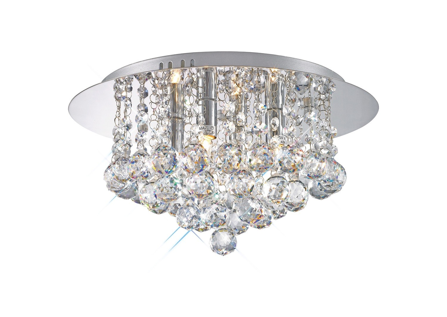 Dahlia Flush Ceiling, 350mm Round, 4 Light G9 Polished Chrome/Crystal