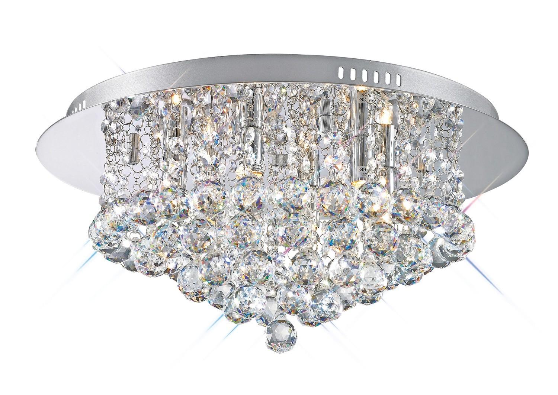 Dahlia Flush Ceiling, 450mm  Round, 6 Light G9 Polished Chrome/Crystal