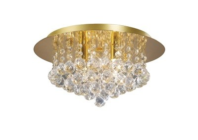 Dahlia Flush Ceiling, 350mm  Round, 4 Light G9 Crystal French Gold