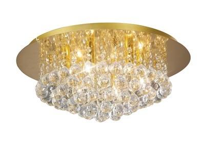 Dahlia Flush Ceiling, 450mm Round, 6 Light G9 Crystal French Gold