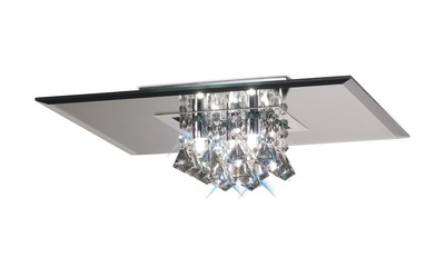 Theo Ceiling, 400mm Square, 5 Light G9 Polished Chrome/Smoked Mirror/Smoked Crystal