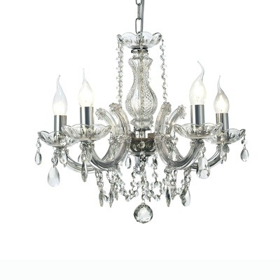 Gabrielle Chandelier With Glass Sconce & Glass Droplets 5 Light E14 Polished Chrome Finish