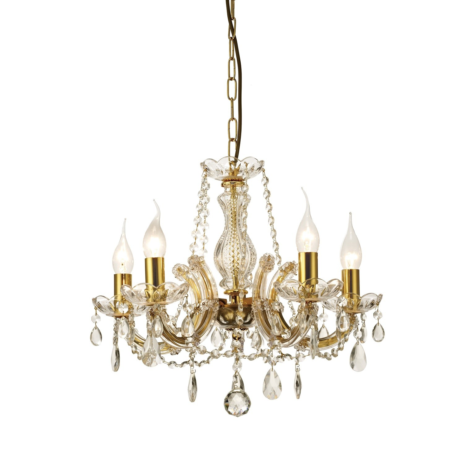 Gabrielle Chandelier With Glass Sconce & Glass Crystal Droplets 5 Light E14 Polished Brass Finish
