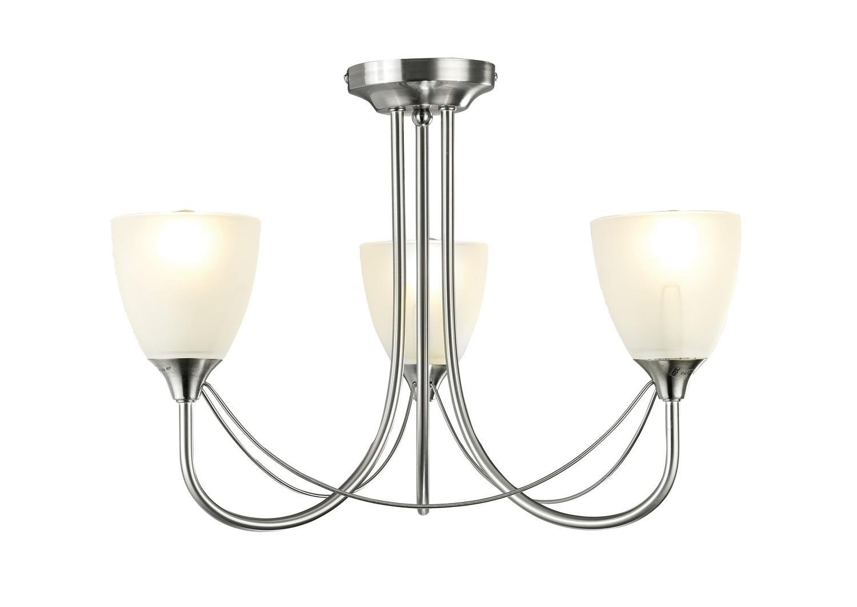 Cooper Ceiling 3 Light E14 Satin Nickel/Opal Glass