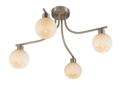 Carmen Ceiling 4 Light E14 Satin Nickel/Round Swirl Pattern Fosted Glass