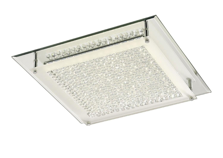 Gina Ceiling, 420mm Square, 21W 1680lm LED 4000K Polished Chrome/Crystal