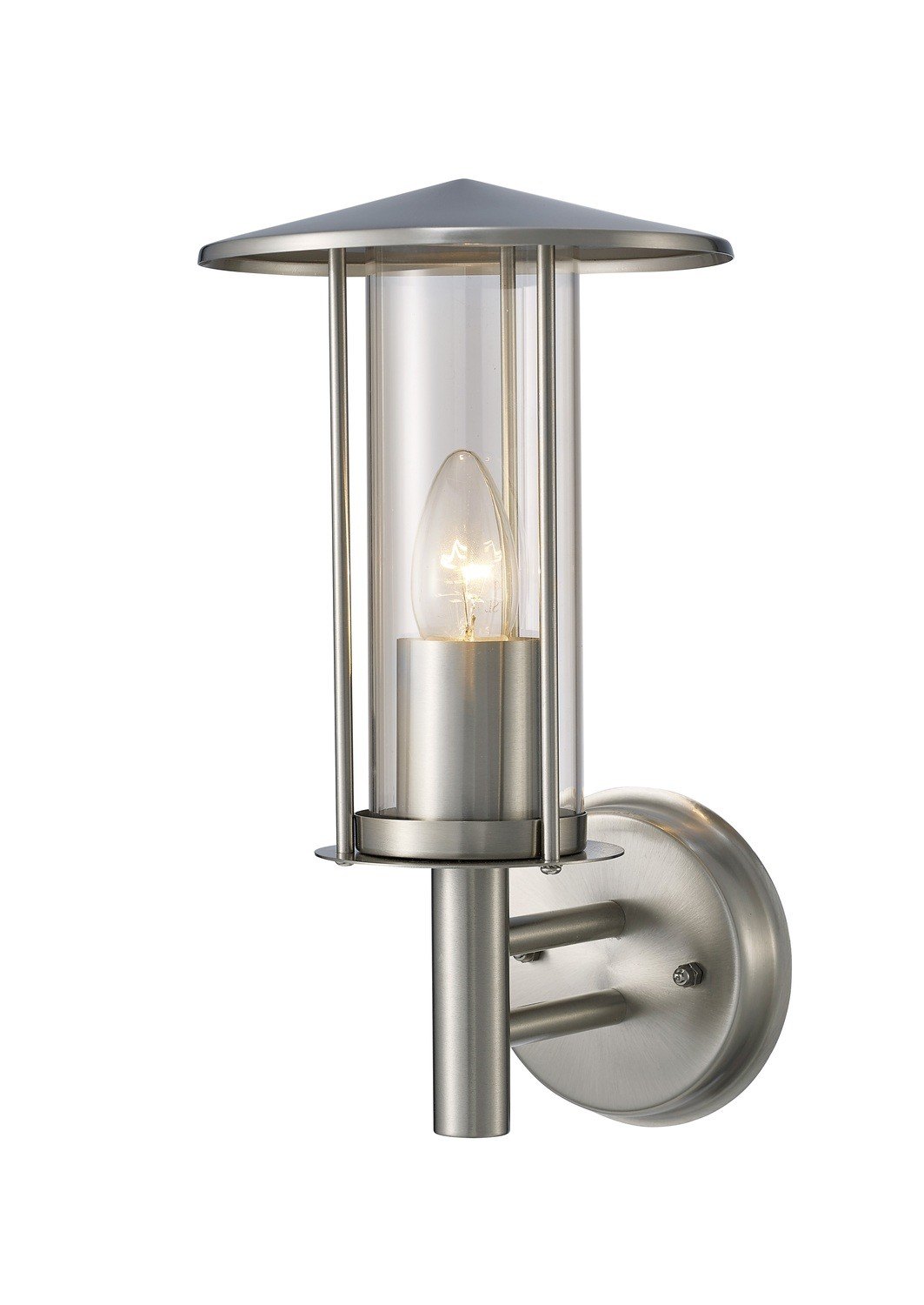 Dalton Outdoor Wall Lamp 1 Light E27 IP44 Stainless Steel/Clear