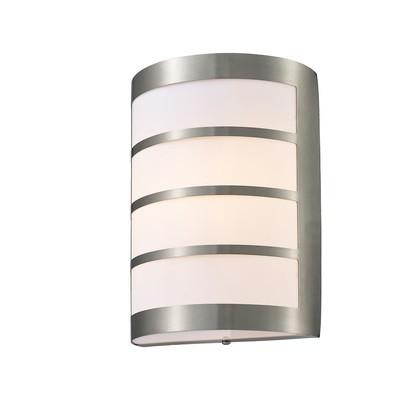 Clayton Flush Wall Lamp 1 Light E27 IP44 Exterior Louvre Design Stainless Steel/Opal