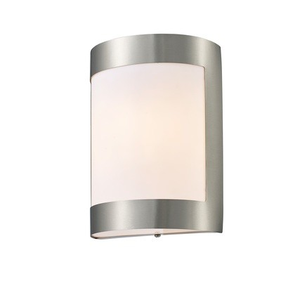 Clayton Outdoor Wall Lamp 1 Light E27 IP44 Stainless Steel/Opal