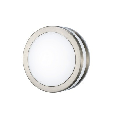 Aldo Round Flush Ceiling/Wall Lamp 2.4W LED 4000K IP44 Exterior Plain Design Stainless Steel/Opal