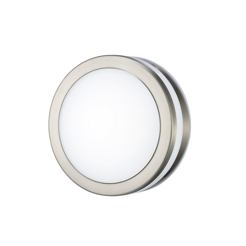Aldo Round Flush Ceiling/Wall Lamp 2.4W LED 4000K IP44 Exterior Plain Design Stainless Steel/Opal