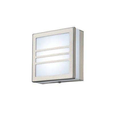 Aldo Square Flush Ceiling/Wall Lamp 2.4W LED IP44 Exterior Louvre Design Stainless Steel/Opal