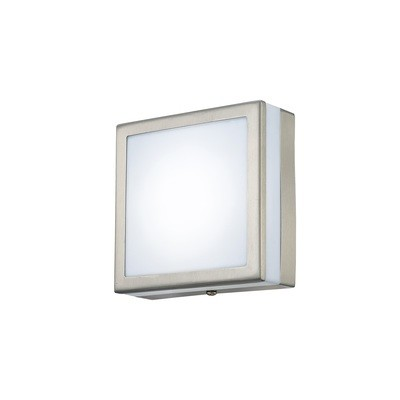 Aldo Square Flush Ceiling/Wall Lamp 2.4W LED IP44 Exterior Plain Design Stainless Steel/Opal