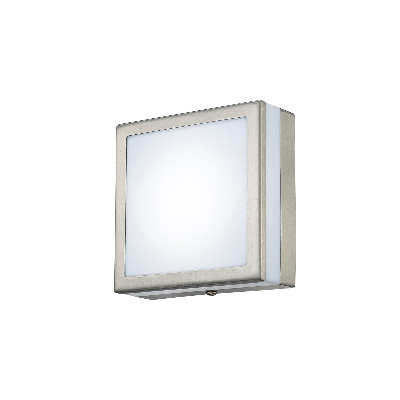 Aldo Square Flush Ceiling/Wall Lamp 2.4W LED IP44 Exterior Plain Design Stainless Steel/Opal