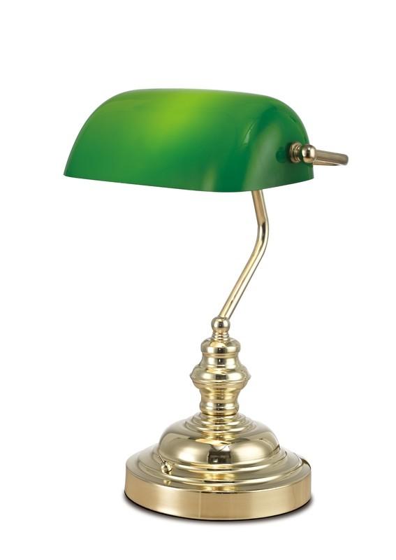 Morgan Bankers Table Lamp 1 Light E27 Gold/Green Glass