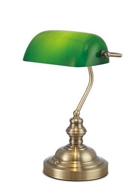 Morgan Bankers Table Lamp 1 Light E27 Antique Brass/Green Glass