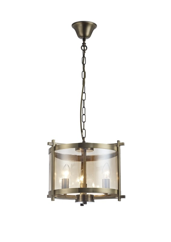 Nolan Single Pendant 3 Light E14 Antique Brass/Amber Glass