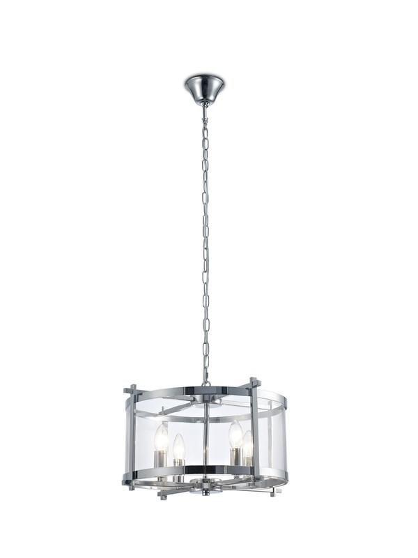 Nolan Single Pendant 4 Light E14 Polished Chrome/Clear Glass