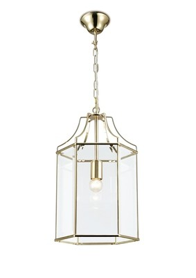 Payton Single Hexagonal Pendant 1 Light E27 French Gold/Clear Glass
