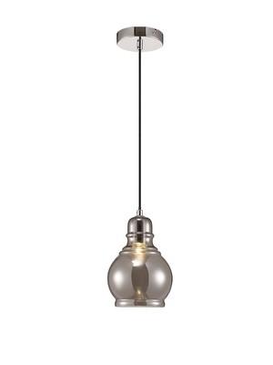 Ariel Single Small Pendant 1 Light E27 Polished Chrome/Smoke Glass