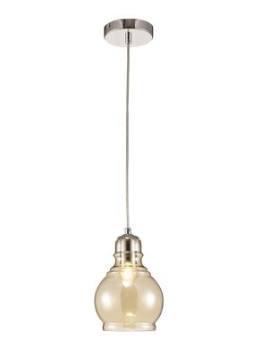 Ariel Single Small Pendant 1 Light E27 Polished Chrome/Cognac Glass