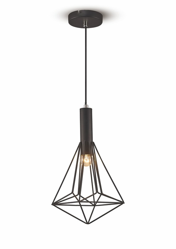 Kristoff Single Pendant 1 Light E27 Black