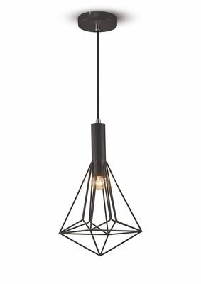 Kristoff Single Pendant 1 Light E27 Black