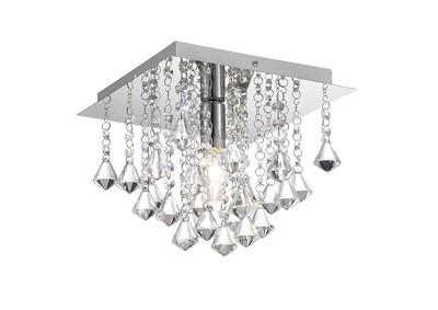 Acton Flush Ceiling 1 Light E14, 250mm Square, Polished Chrome/Prism Crystal