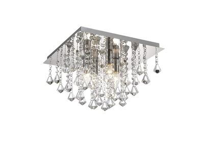 Acton Flush Ceiling 4 Light E14, 380mm Square, Polished Chrome/Prism Crystal