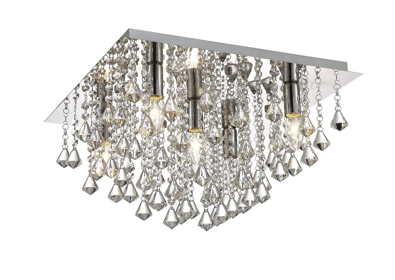 Acton Flush Ceiling 5 Light E14, 460mm Square, Polished Chrome/Prism Crystal