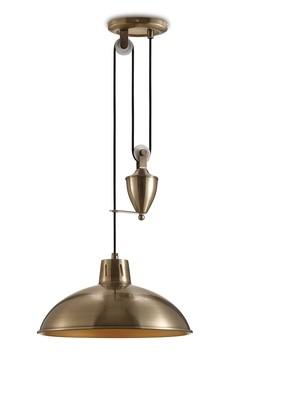 Wellington Pulley System Pendant 1 Light E27 Antique Brass