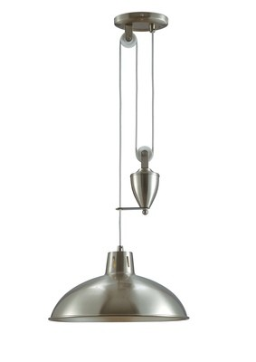 Wellington Pulley System Pendant 1 Light E27 Satin Nickel
