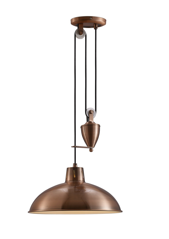 Wellington Pulley System Pendant 1 Light E27 Antique Copper