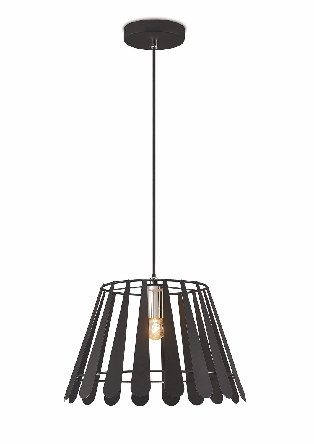 Somerset Pendant 1 Light E27 Black/Polished Chrome