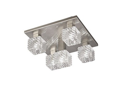 Accor Ceiling Flush 5 Light G9, 230mm Square, Satin Nickel/Clear Glass