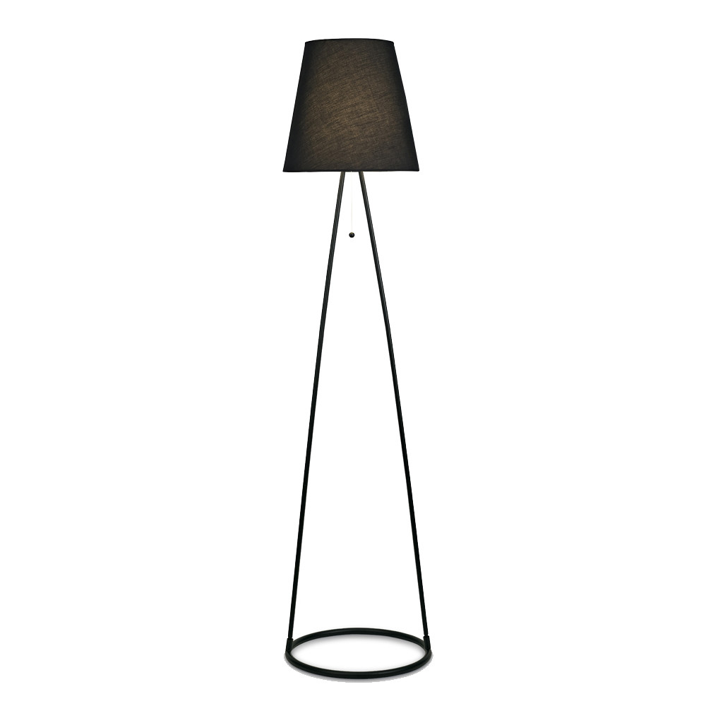 Hayden Floor Lamp 1 Light E27 Matt Black c/w Black Fabric Shade