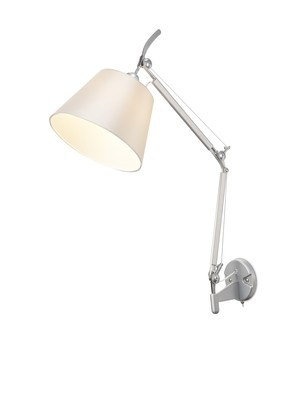 Karis Adjustable Switched Wall Light 1 Light E27 Silver/Polished Chrome c/w Cream Pearl Shade