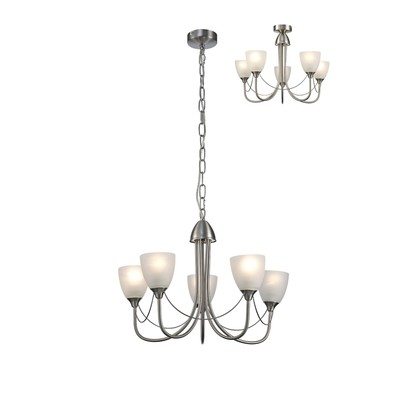 Cooper Ceiling 5 Light Pendant/Semi Flush Convertible E14 Satin Nickel/Opal Glass