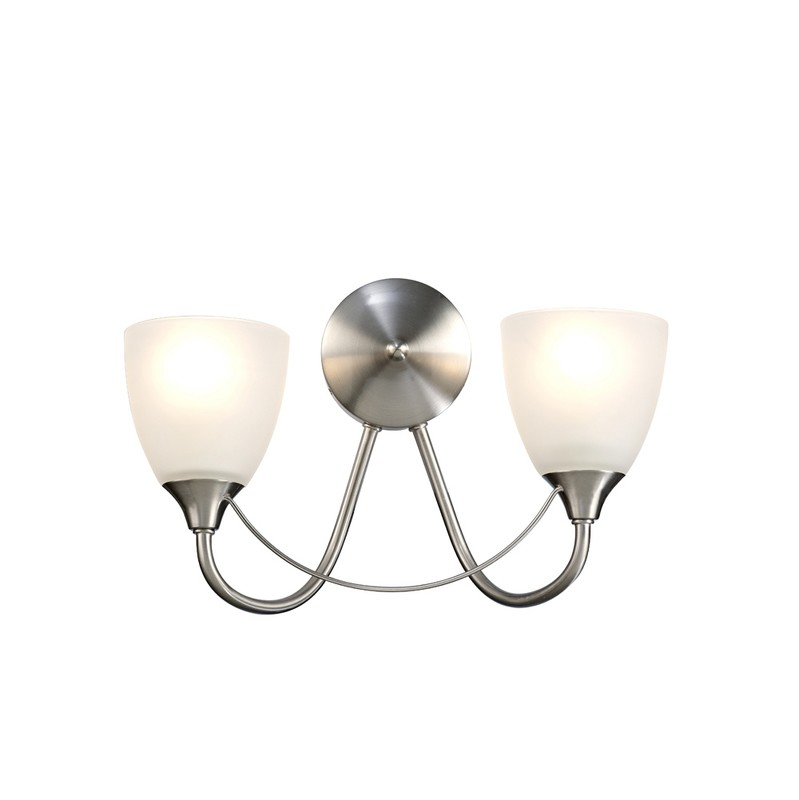 Cooper Switched Wall Lamp 2 Light E14 Satin Nickel/Opal Glass