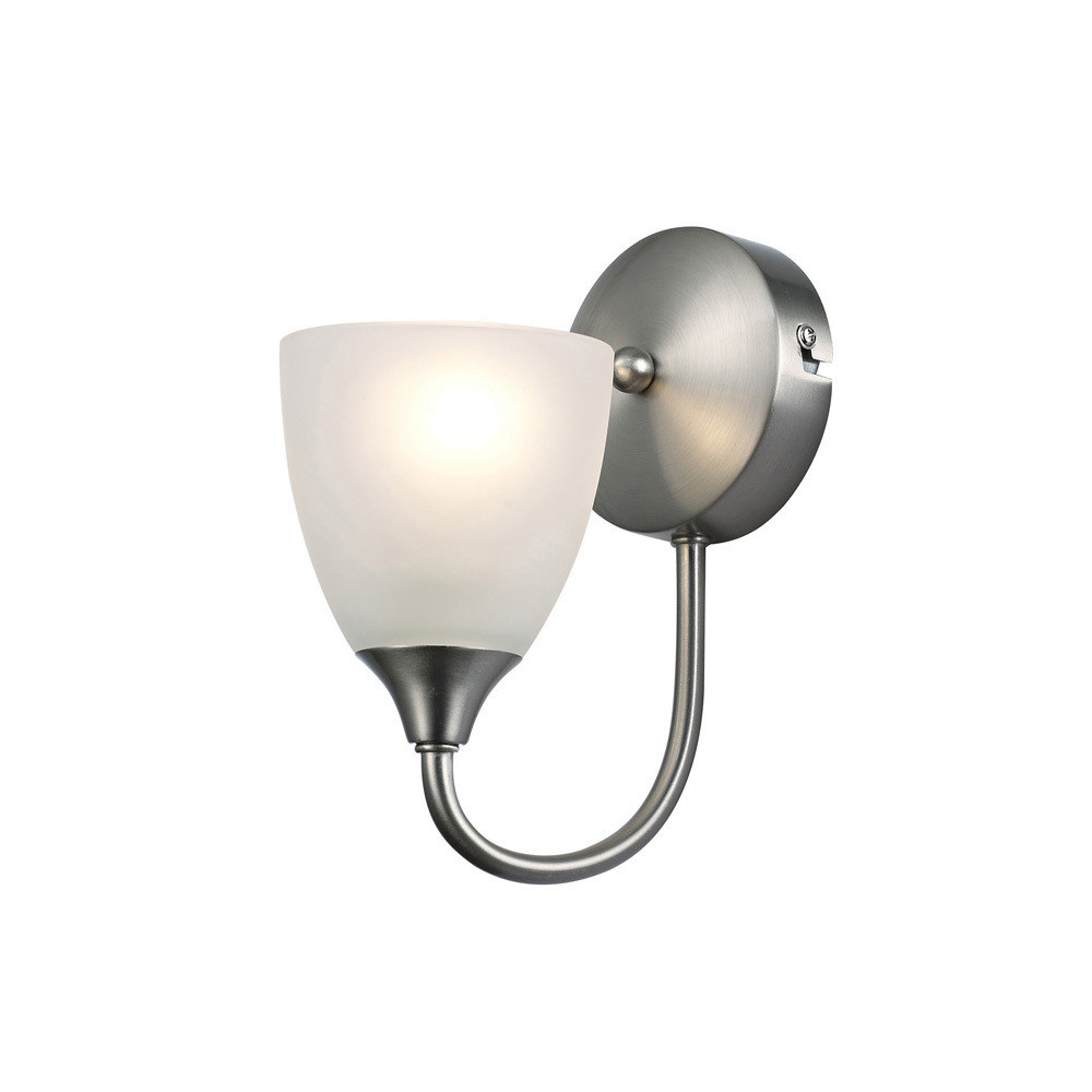 Cooper Switched Wall Lamp 1 Light E14 Satin Nickel/Opal Glass