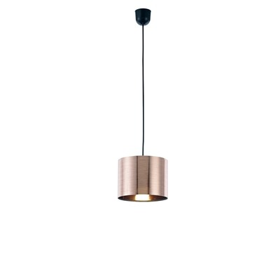Dako Pendant 1 Light E27 With 200 x 150mm Cylinder Shade, c/w Ceiling Bracket Metallic Copper
