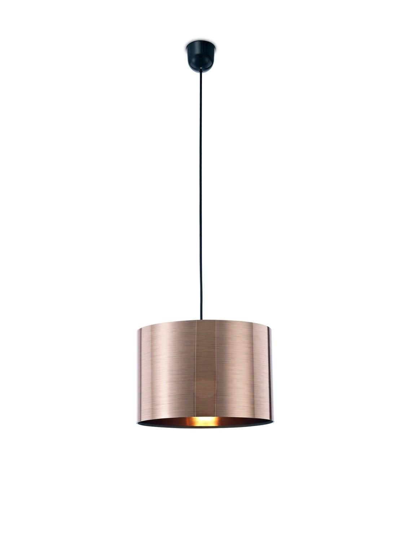 Dako Pendant 1 Light E27 With 300 x 200mm Cylinder Shade, c/w Ceiling Bracket Metallic Copper