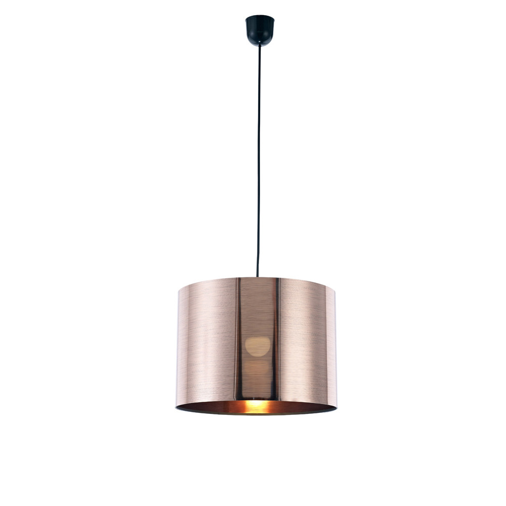 Dako Pendant 1 Light E27 With 350 x 250mm  Cylinder Shade, c/w Ceiling Bracket Metallic Copper
