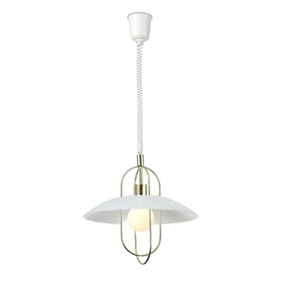 Riva Rise & Fall Pendant 1 Light E27, Polished Brass/Opal White Glass Shade