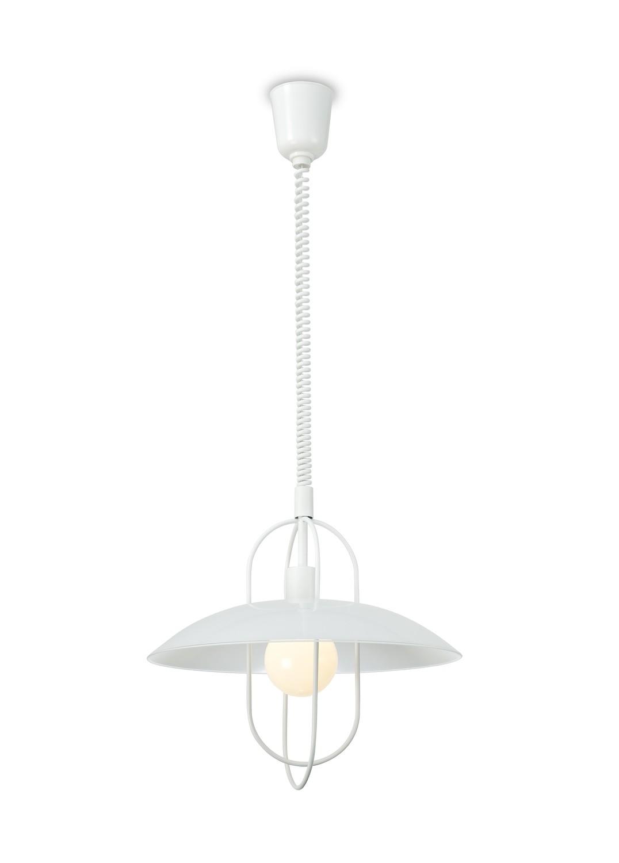 Riva Rise & Fall Pendant 1 Light E27, Matt White/Opal White Glass Shade