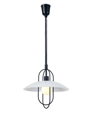 Riva Rise & Fall Pendant 1 Light E27, Matt Black/Opal White Glass Shade