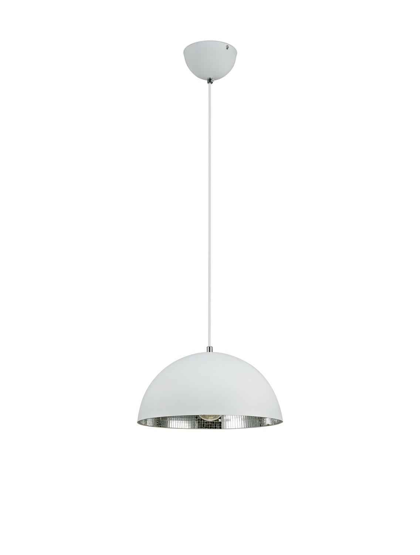Krista Single Pendant 1 Light E27, Matt White/Mirror Mosaic Inner