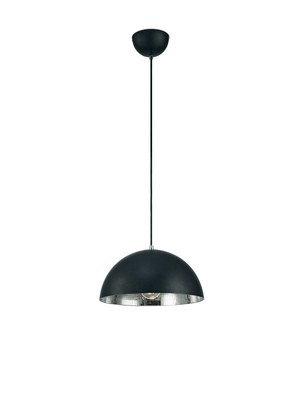Krista Single Pendant 1 Light E27, Matt Black/Mirror Mosaic Inner
