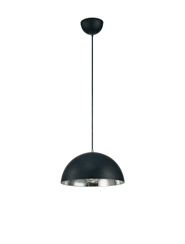 Krista Single Pendant 1 Light E27, Matt Black/Mirror Mosaic Inner