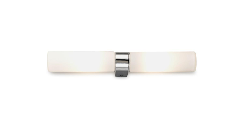 Tasso IP44 2 Light E14 Twin Wall Lamp,  Polished Chrome With Opal Tubular Glass